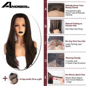 Аногол Высокая температура волокна темно-коричневый 150% плотность волос длинные натуральные волны синтетические кружева фронта парик для черных женщин