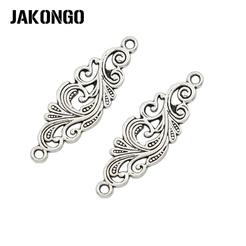Antique Silver Plated Leaf Connector for Jewelry Making Bracelet Accessories Findings DIY 30x10mm 25pcs/lot spoon fork knife slice tableware shape diy alloy charm pendant crown antique silver vintage jewelry making accessories findings