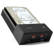 HDD Enclosure dock Station USB 3.0 HDD Case for 2.5» 3.5″ Sata hard disk up to 3TB With 2 Ports USB2.0 HUB