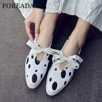 FOREADA Spring Flats Women Shoes Horsehair Polka Dot Flat Shoes Ribbon Lace Up Round Toe Shoes Ladies White Black Big Size 33 42