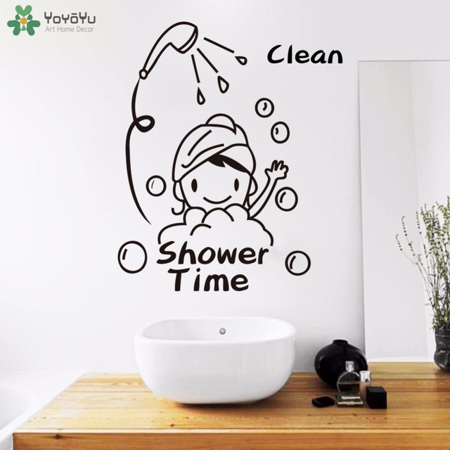 YOYOYU Wall Decal Bathroom Vinyl Wall Stickers Cute Girl