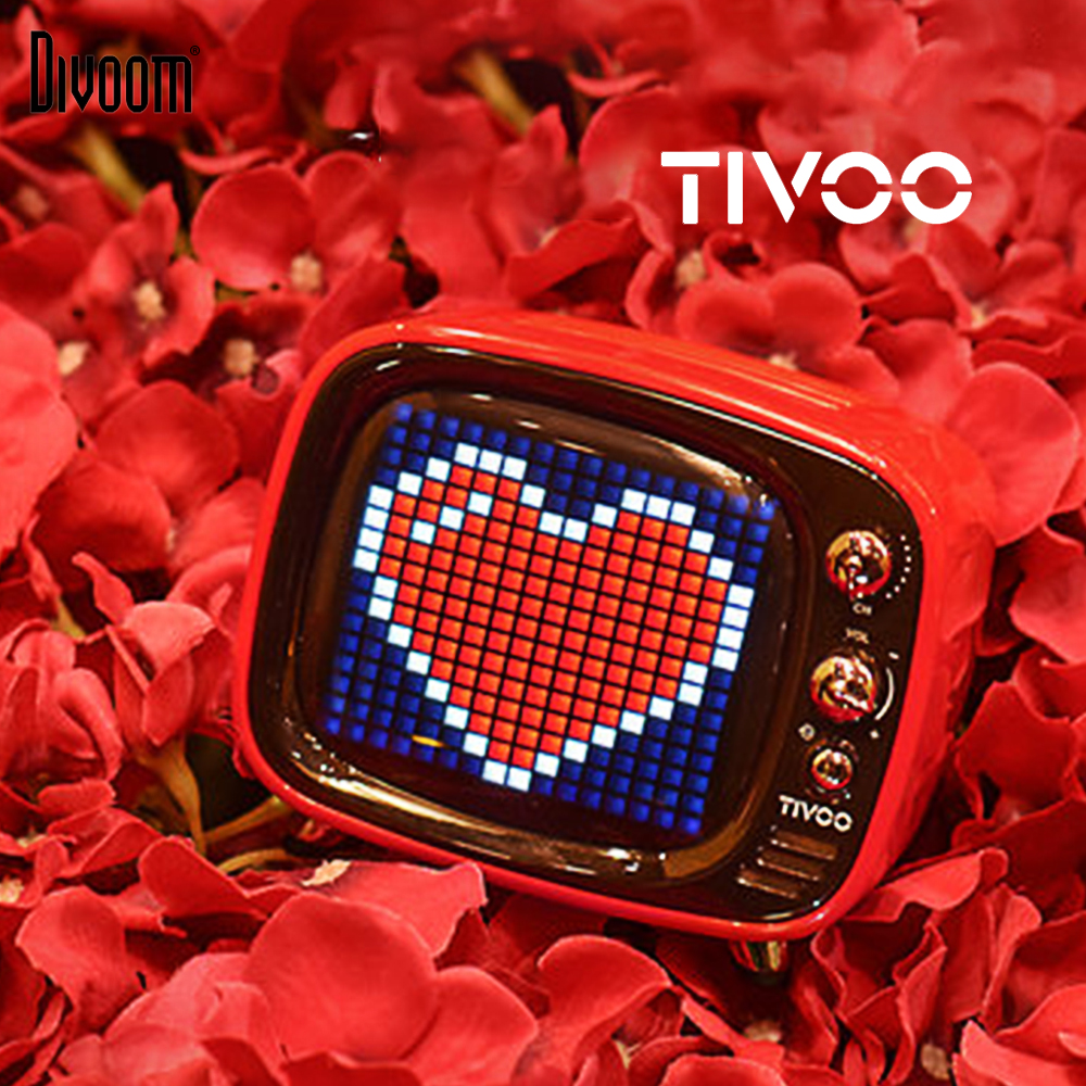 Divoom Tivoo Portable Wireless Bluetooth 5.0 speaker Pixel Art LED Clock Smart Alarm Clock with App available for IOS Android image