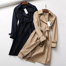 Classic Khaki Double-breasted Belt Long Trench Womens Cotton Blend High Fashion