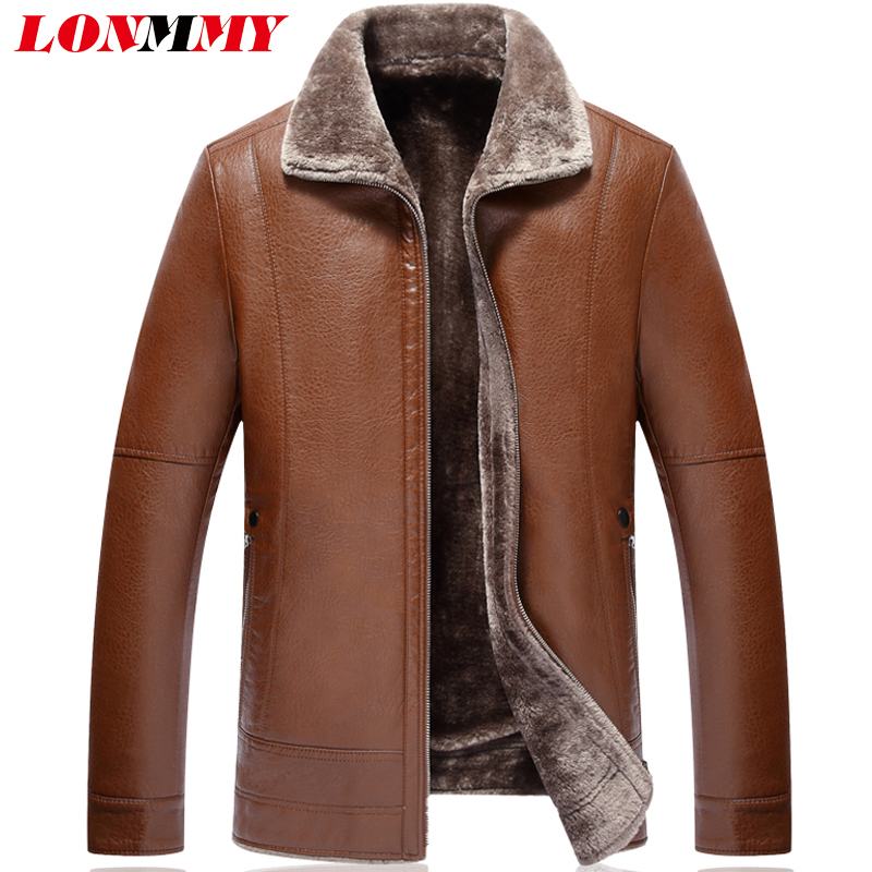 LONMMY 7XL Fur collar leather jacket men Plush inner liner warm PU Suede coat Casual Black men faux fur jacket coat 2017 Winter