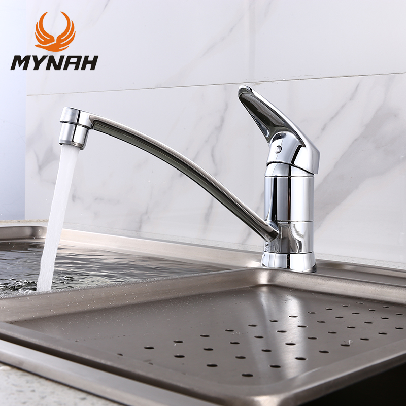 все цены на MYNAH Deck Mounted Kitchen Faucet Polished Chrome-faced Single Handle Single Hole Kitchen Mixer Faucet