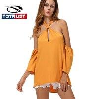 TOTRUST Long SLeeve Summer Off Shoulder Blouse Women 2017 Sexy Women S Halter Neck Blouses Tops