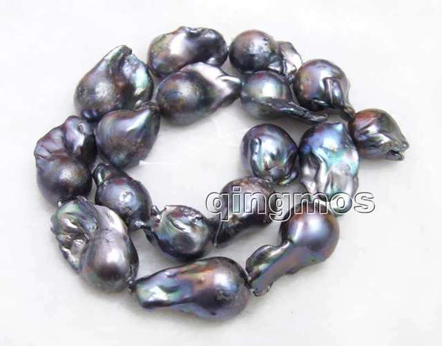 Big 14*25mm Black Baroque Natural Freshwater Nuclear pearl Loose Beads Strand 14''-los772 wholesale/retail Free shipping