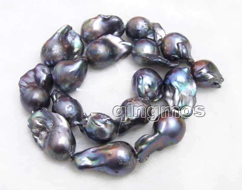 Gros 14*25mm noir Baroque naturel eau douce nucléaire perle lâche perles brin 14 ''-los772 gros/détail livraison gratuite