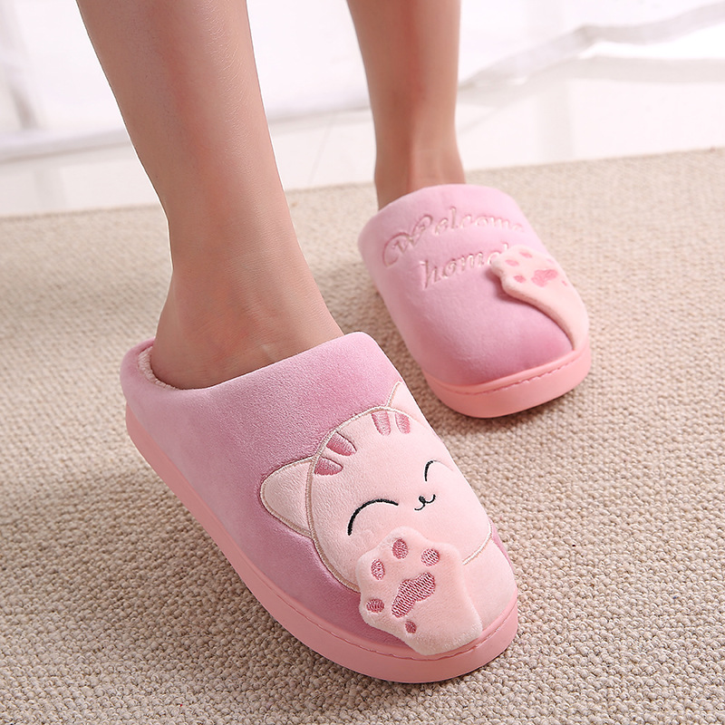 Cute cat cotton plush women slippers non-slip indoor winter women home shoes Bedroom soft warm floor fur slippers female NBT1099 fashion autumn and winter indoor home lovers cotton drag floor plush slippers female slip resistant