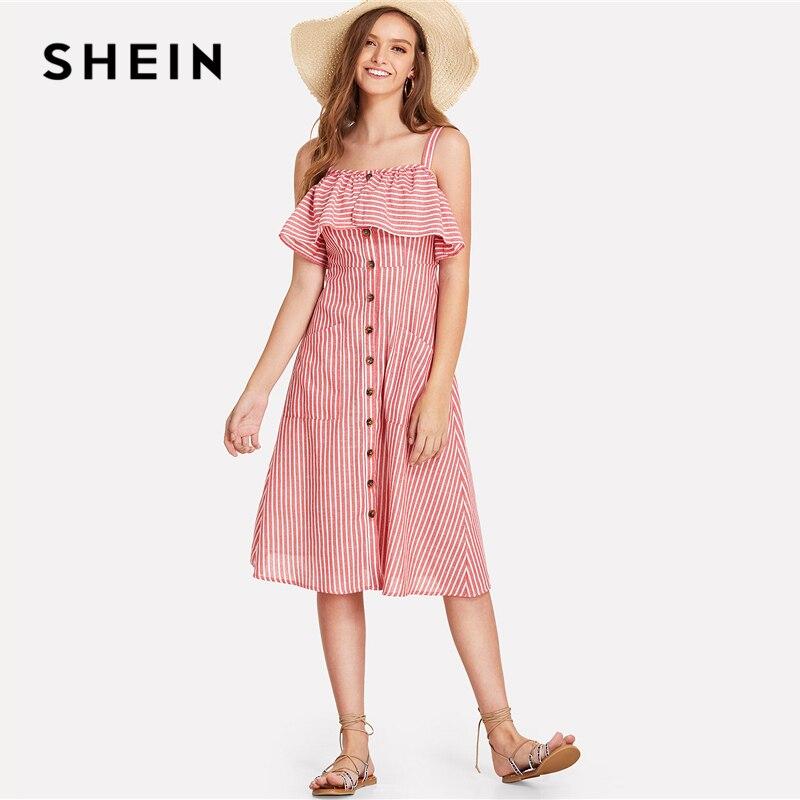 SHEIN botón Flounce Trim rayas vestido 2018 verano Spaghetti Strap ...