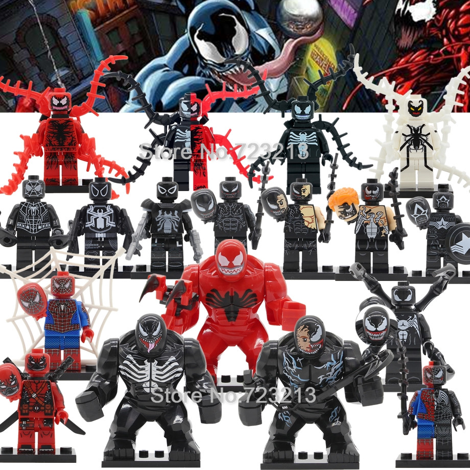 Single Sale Venom Carnage Spider Man Venom Legoingly Figure Marvel Super Hero Building Blocks Set Model Toys
