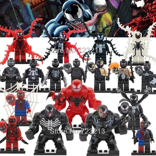 Única Venda Venom Spider Man Venom Carnificina Legoingly Figura Marvel Super Herói Blocos de Construção Modelo de Conjunto de Brinquedos