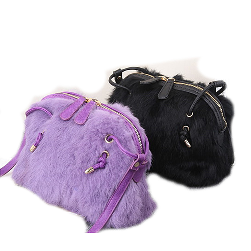 2016 new fashion winter real rabbit fur female handbags Shoulder tote Messenger Bags double zipper for women ladies girl shell