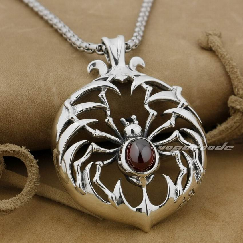 LINSION 925 Sterling Silver Huge Heavey Red CZ Stone Spider Mens Biker Rock Punk Pendant 9H010