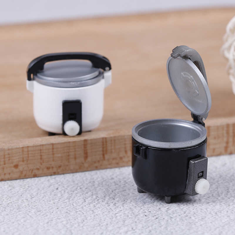 Миниатюрная черно-белая рисоварка, кухонные аксессуары, украшение для 1:12, DIY аксессуары для кукольного домика, детские игрушки