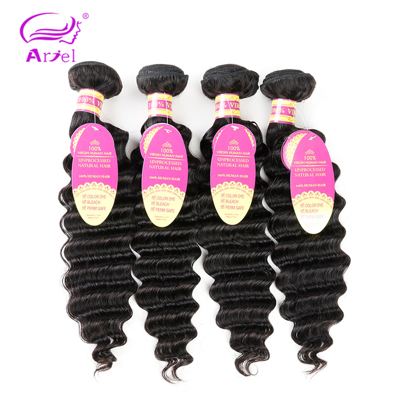 Deep Wave Bundles With Closure 30 Inch Bundles Brazilian Hair Weave Bundles Non Remy Human Hair Extension 4 Bundles With Closure-in 3/4 Bundles with Closure from Hair Extensions & Wigs    2