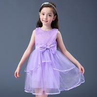 2017 New Summer Girls Dress New Cotton Cents Beauty Flower Girl Dresses Pompon Chiffon Dress Ball