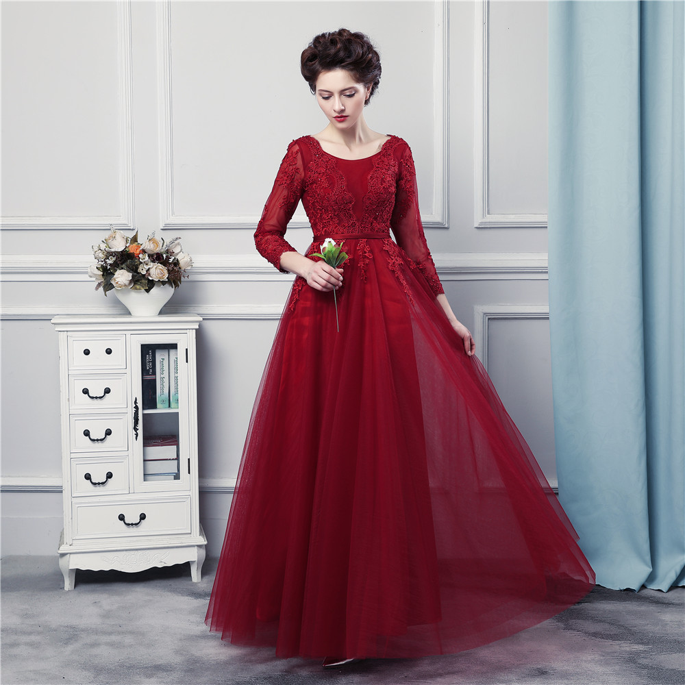 Long Sleeves Red Burgundy Prom Dresses High Quality Tulle And ...