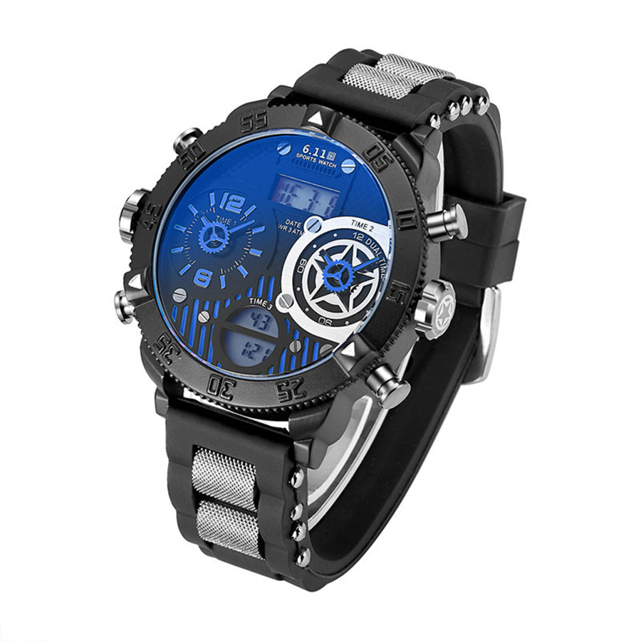 Topdudes.com - Big Dial Multiple Time Zone Creative Waterproof Led Digital Quartz Watch