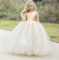 Puffy Flower Girls Dresses Ivory Champagne tulle bling Gold Sequins Top keyhole back baby Ball Gown long tutu dress for wedding