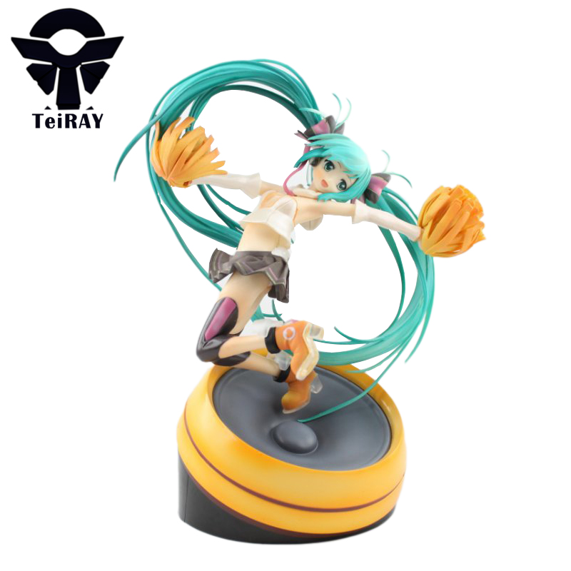 Hatsune Miku Cheerful Ver Sexy Miku Figurines 22Cm Japan Anime Pvc Action Figures Jouet  Manga Bandai Kids Hot Toys for Children hot anime vocaloid hatsune miku action figures pvc brinquedos collection figures toys kids birthday christmas gift free shipping