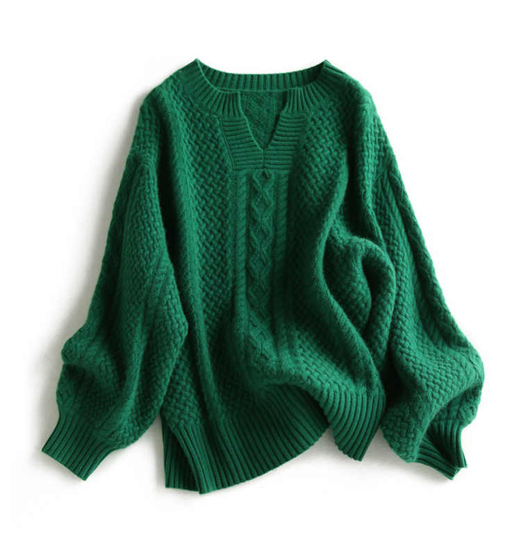 Women Sweater 2018 New Winter Fashion Casual Solid V-Neck Sweater Warm Vintage Loose Long Sleeve Knitted Pullover Sweaters
