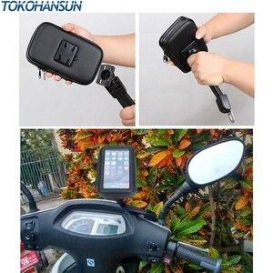 Image 5 - Suporte do telefone da motocicleta para samsung galaxy s8 s9 s10 para o iphone x 8 mais suporte da bicicleta móvel suporte à prova dwaterproof água para moto saco