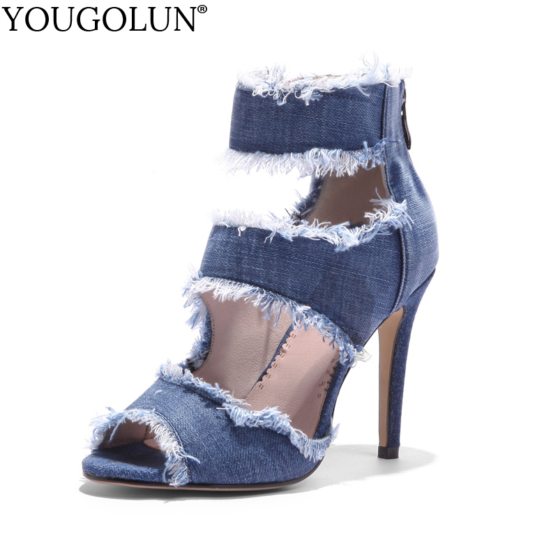 YOUGOLUN Women Sandals Summer New Denim Sexy Ladies Ankle Strap High Thin Heels Elegant Woman Blue Peep toe Party Shoes #A-084 hot selling sexy sloid thin heels sandals woman new desig lace red white black sandals peep toe elegant for women free sipping