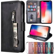 Luxury PU Leather for iPhone XS Max XR XS 8/7/6S/6 Plus Card Slots & Hand Straps&Zippered Wallet Phone Case Holder