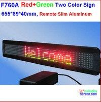 Twee kleur led teken  programmeerbare scrolling. rood + groen  semi-outdoor/indoor  afstandsbediening  502*89*40mm  7*60 pixel slim aluminium