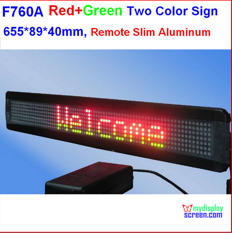 two color led sign, Programmable scrolling.red+green, semi outdoor/indoor,remote controller,502*89*40mm,7*60 pixel slim aluminum