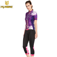 YKYWBIKE Summer Purple Bib Short Cycling Kits Cycling Jersey Women Sports Clothing Bicicleta Kits Ropa Ciclismo