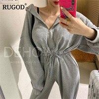 RUGOD 2019 Women bodysuit long sleeves zipper jumpsuits with hat slim v neck high waist summer modis sportswear for feminino