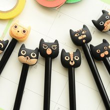 South Korea stationery super cute cartoon animals pen little cat black ink 0.5 mm gel pen 10 pcs