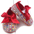 BornToGirl Baby Girl crystal anti-slid toddler shoes bebe soft bottom infant babi shoes new born First walkers