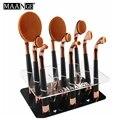 Maange 9 buracos de golfe escova oval shapd suporte de armazenamento de maquiagem jogo de escova titular exibição pendurado secagem árvore de pincéis de maquiagem