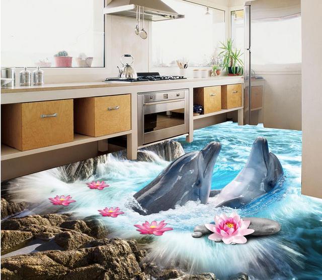 3d Naklejki Podłogowe Podłoga Tapety 3d Do łazienek Dolphin Beach 3d