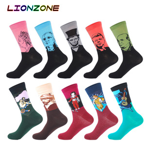 Image 2 - 10 Pairs Lot Pack Men Socks Funny Combed Cotton Character Oil Painting Wedding Gift Designer Dress Male Happy Socks + Free Gift