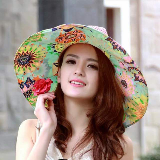 1956eee7f49 placeholder Ymsaid Summer Large Brim Beach Sun Hats Women UV Protection  Women Caps With Big Head Foldable