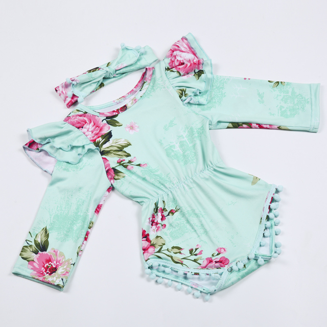 bb80b98c7 Baby Girl Romper Set,MINT Floral jumpsuit,fall winter Cake Smash outfit,Baby