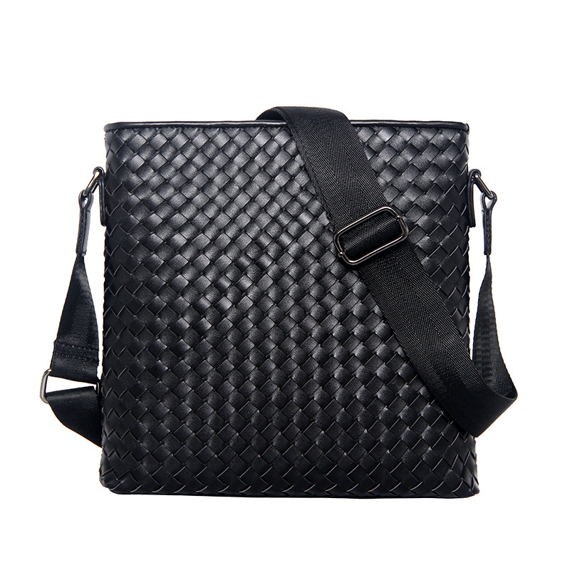 Men's Business Shoulder Bag Men 's Classic Cowhide Genuine Leather Woven Bag Vertical Section Shoulder Messenger Bag Business Br