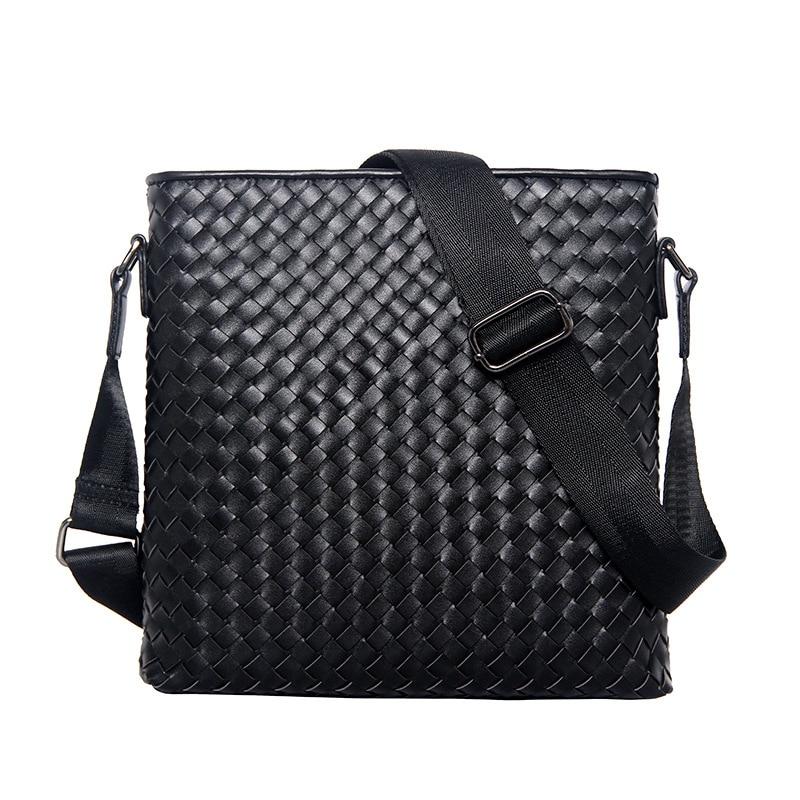 Men's Business Shoulder Bag Men 's Classic Cowhide Genuine Leather Woven Bag Vertical Section Shoulder Messenger Bag Business Br