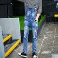 Ripped Skinny Jeans Hombres A Estrenar 2016 de Los Hombres Pantalones Vaqueros de Diseño Hip Hop Pantalones Overol de Mezclilla Mens Trajes de Moda MB16294
