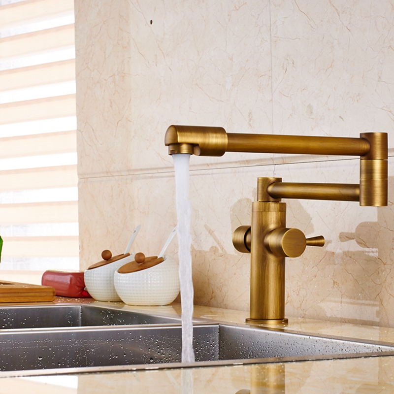 Deck Mount Antique Brass Bathroom Faucet Kitchen Sink Mixer Tap Swivel Spout golden brass kitchen faucet dual handles vessel sink mixer tap swivel spout w pure water tap