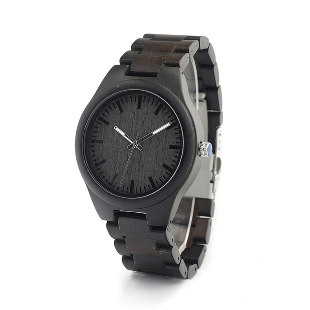 BOBO BIRD Fashion Ebony Black Wood Casual Quartz Watch Top Designer With Wood Straps Different Wood Watch Dials With Gift Box