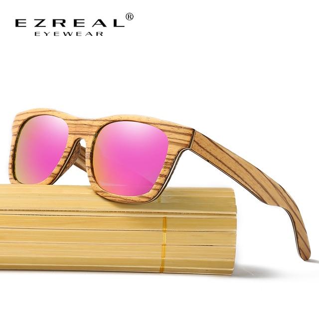 a3564079fc3aa EZREAL Polarizada Óculos De Sol De Madeira Retro Moldura Redonda óculos de  Condução Óculos de Sol