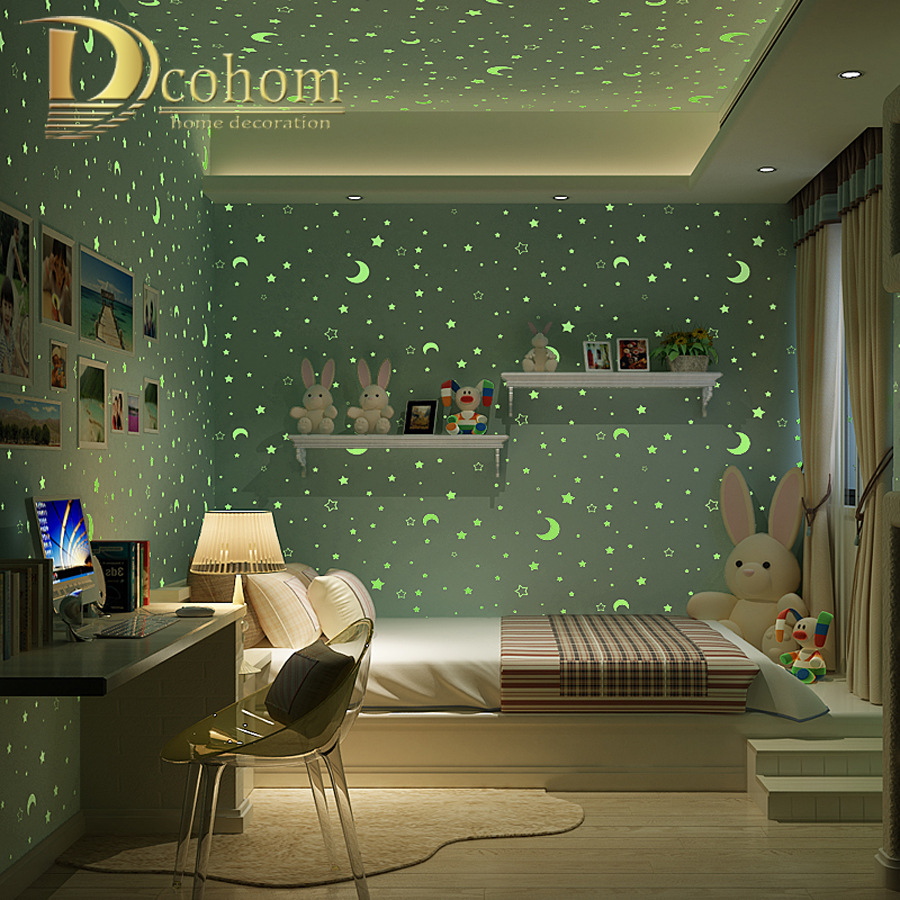 3D Luminous Stars And The Moon For Boys Girls Bedroom Wallpaper For Walls Starry Themed Wall