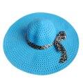 Cielo Azul Del Verano Exquisito Leopard Cinta Del Bowknot Adornó el Calado Del Sol De Las Mujeres