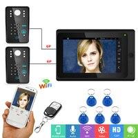 7Wired / Wireless Wifi RFID Video Door Phone Doorbell Intercom System 2 Camera Support Remote APP unlocking,Recording,Snapshot