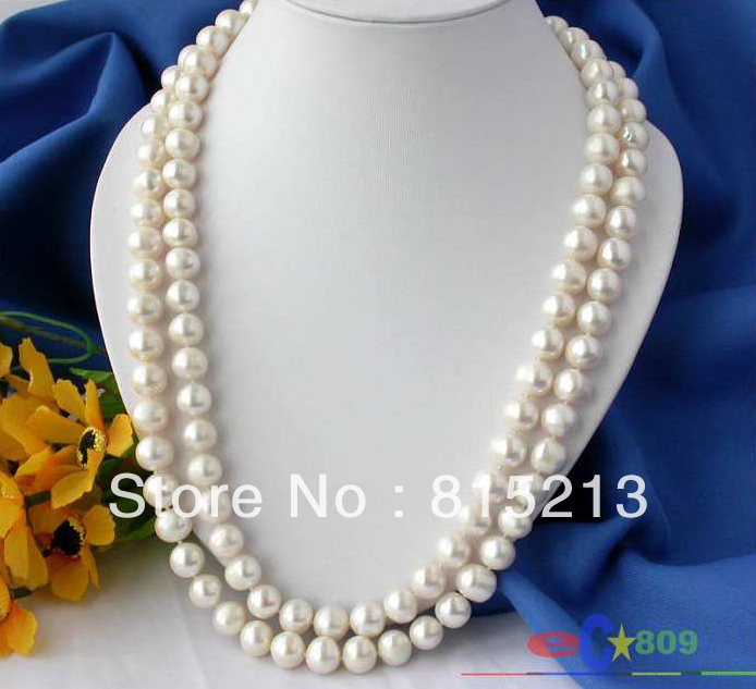 """N1603 50"""" 12MM ROUND WHITE FRESHWATER CULTURED PEARL NECKLACE N Discount NEW"""